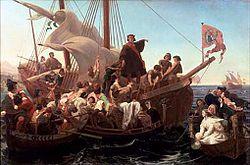 Christopher Columbus on Santa Maria in 1492
