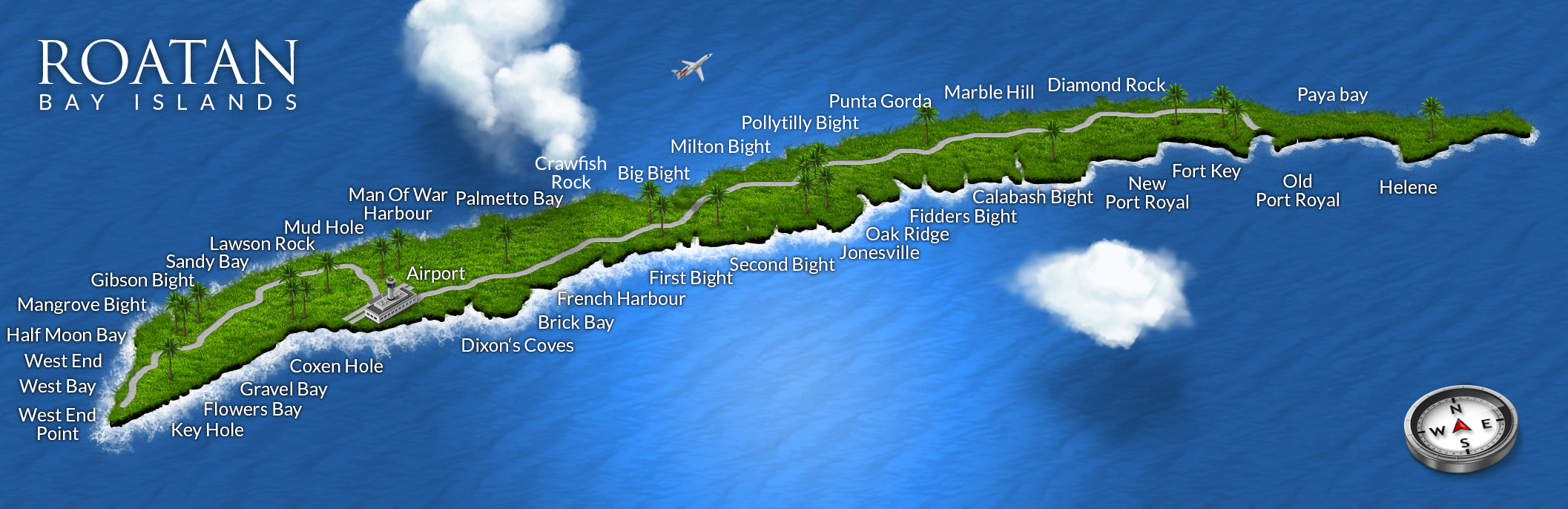 Map of Roatan Honduras